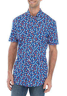 Crown & Ivy™ Motion Flex Short Sleeve Printed Woven Shirt