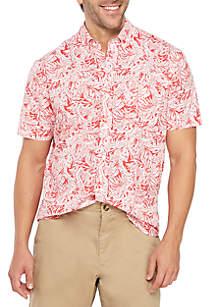 Crown & Ivy™ Motion Flex Short Sleeve Printed Woven Shirt