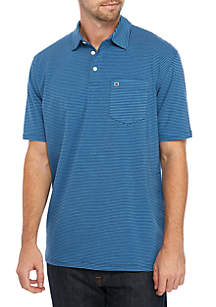 Crown & Ivy™ Motion Flex Short Sleeve Stripe Jersey Polo Shirt