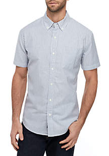 Crown & Ivy™ Short Sleeve Stripe Oxford Shirt