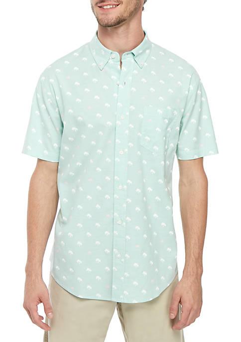 Crown & Ivy™ Short Sleeve Print Oxford Shirt
