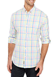 Crown & Ivy™ Motion Flex Long Sleeve Plaid Woven Shirt