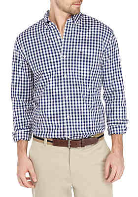 2b708bb06be53 Crown   Ivy™ Motion Flex Long Sleeve Icon Gingham Woven Shirt ...