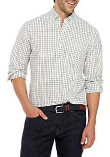 Crown & Ivy™ Motion Flex Long Sleeve Tattersall Woven Shirt