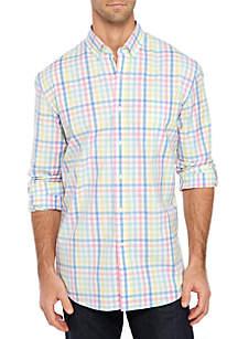Crown & Ivy™ Slim Fit Motion Flex Long Sleeve Plaid Woven Shirt