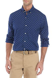 Crown & Ivy™ Slim Fit Button Down Shirt with Motion Flex