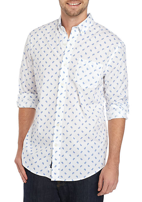 Crown & Ivy™ Long Sleeve Poplin Print Shirt