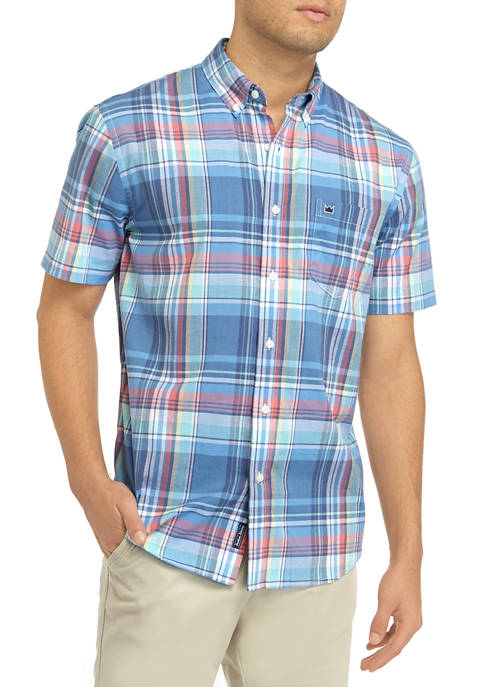 Crown & Ivy™ Mens Short Sleeve Madras Plaid