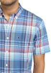 Mens Short Sleeve Madras Plaid Woven Shirt