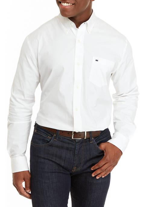 Mens Long Sleeve Solid Woven Shirt
