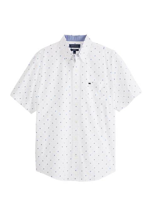 Short Sleeve Print Button Down Shirt