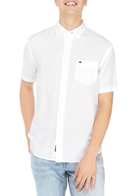 Crown & Ivy™ Short Sleeve Linen Woven Shirt
