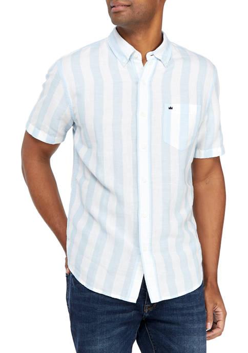Short Sleeve Striped Linen Woven Shirt
