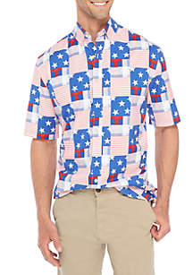 Short Sleeve Poplin American Flag Shirt