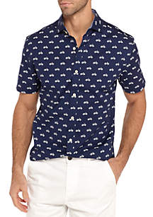 Big & Tall Short Sleeve Stretch Bicycle Print Poplin