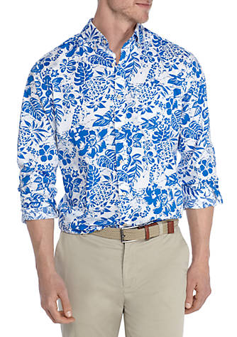 Crown & Ivy™ Short Sleeve Stretch Hibiscus Print Poplin Shirt Visit New For Sale 2018 New Sale Online Cheap Price Outlet TKCHd9UIQ4
