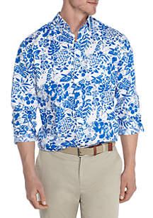 Big & Tall Long Sleeve Hibiscus Print Stretch Poplin Shirt