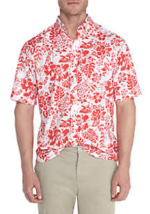 Big & Tall Short Sleeve Stretch Hawaiian Poplin Shirt