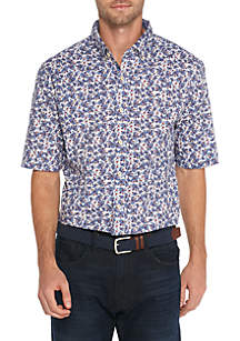 Big & Tall Motion Flex Short Sleeve Paisley Poplin Shirt