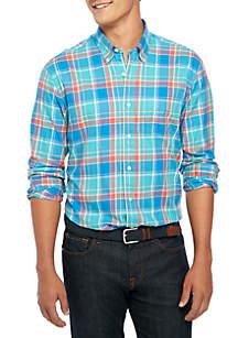 Big & Tall Long Sleeve Brushed Plaid Shirt