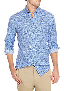 Big & Tall Poplin Floral Print Shirt