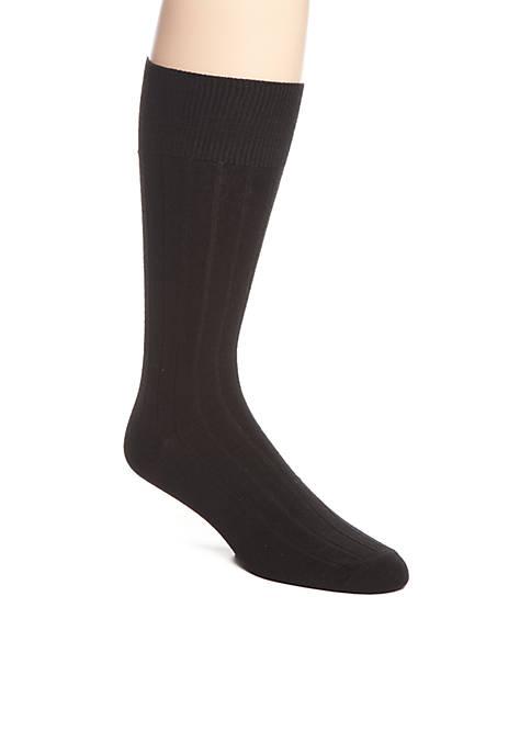 Wide Rib Crew Socks - Single Pair
