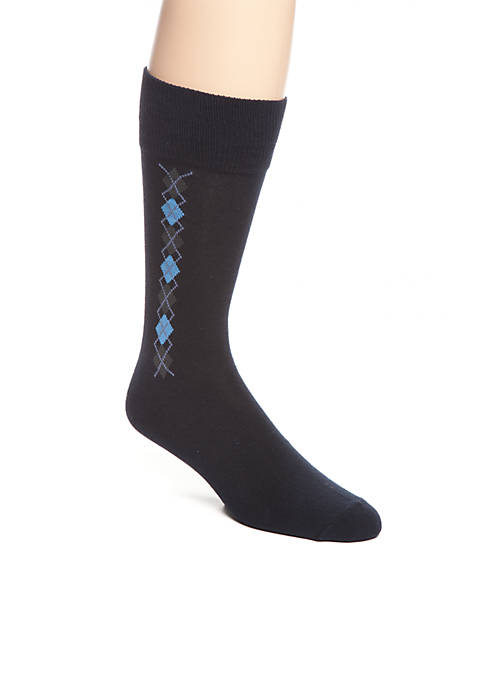 Saddlebred® Clocking Argyle Crew Socks- Single Pair