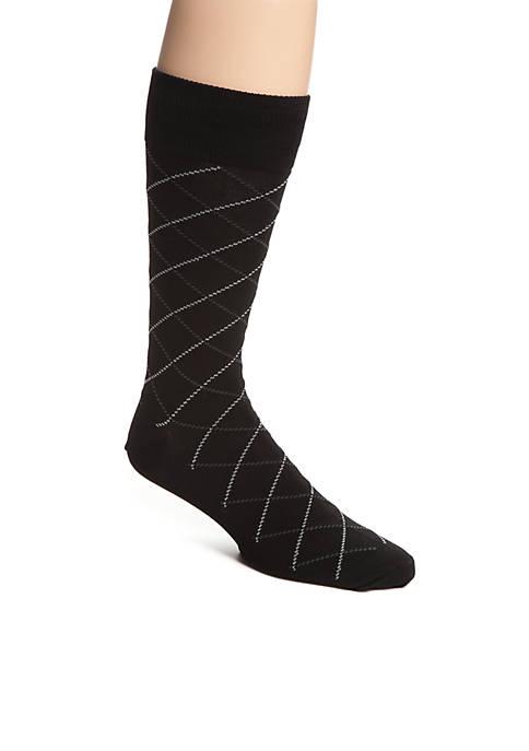 Mercerized Cotton Lattice Crew Sock - Single Pair