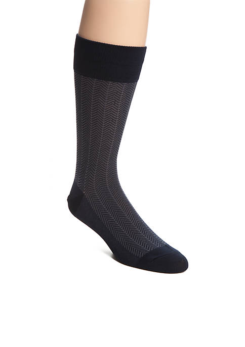 Mercerized Cotton Herringbone Crew Socks - Single Pair