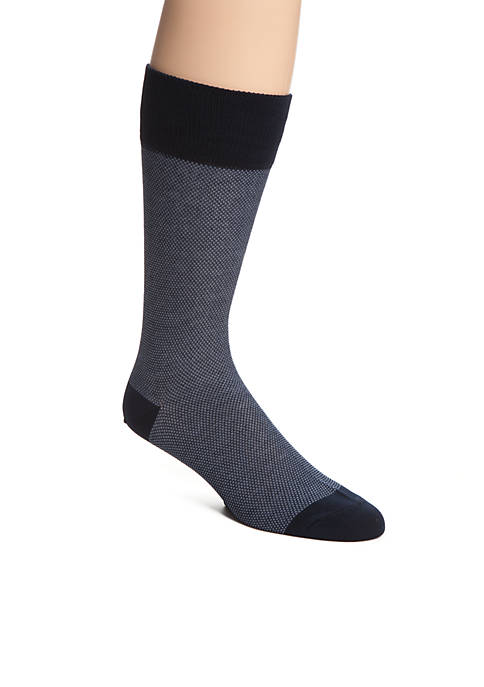 Mercerized Cotton Pique Neat Crew Socks - Single Pair