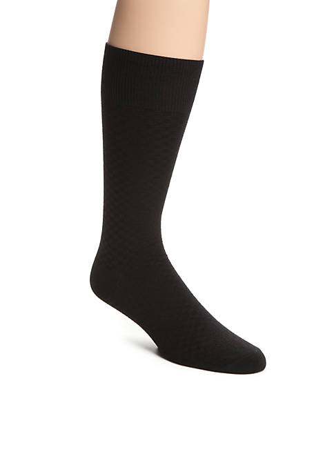 Saddlebred® Check Textured Pattern Crew Socks