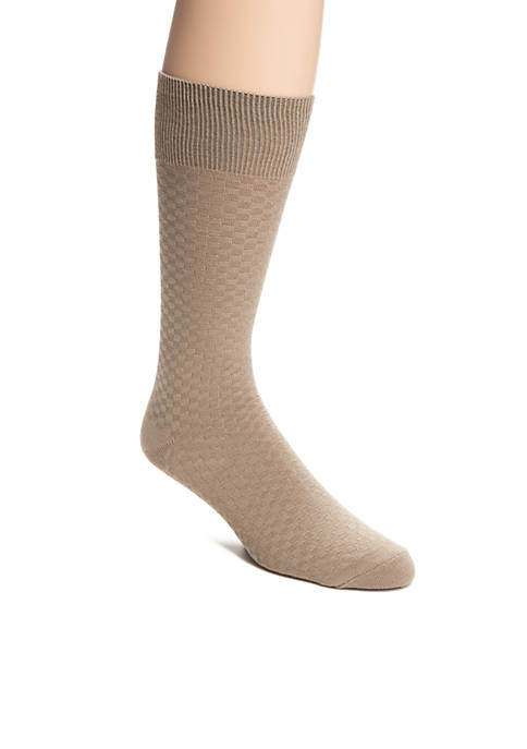 Check Textured Pattern Crew Socks - Single Pair