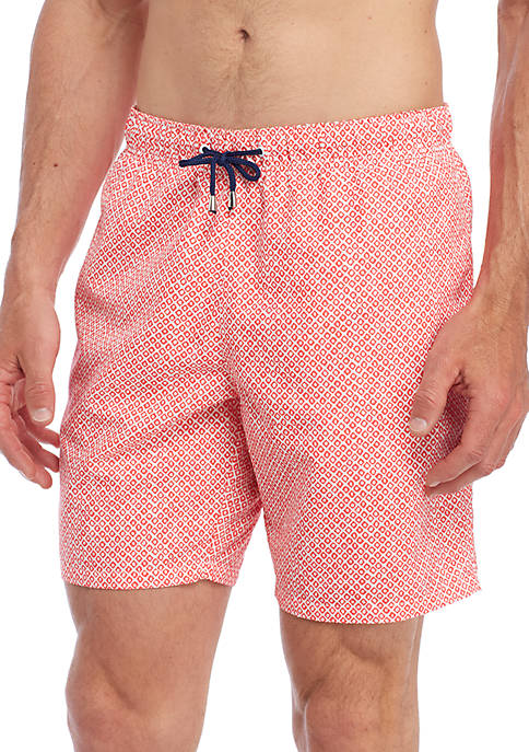 Crown & Ivy™ Diamond Print Swim Trunks