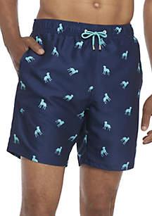 Crown Dog Print Swim Trunks