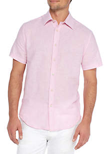 Short Sleeve Stripe Linen Cotton Shirt