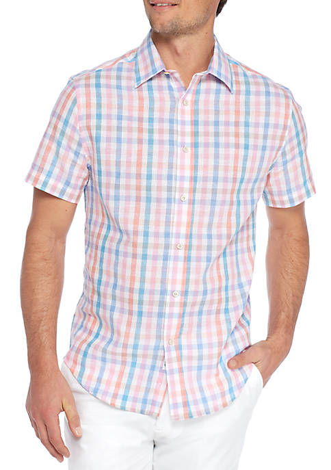 Crown & Ivy™ Short Sleeve Linen Cotton Shirt