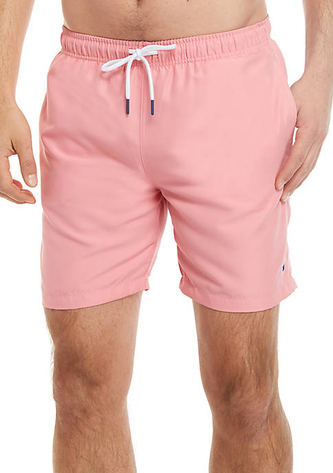 Crown & Ivy™ 7 in Solid Swim Trunks