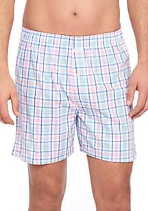 Pink Blue Plaid Swim Shorts