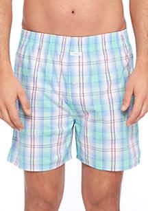 Mint Blue Plaid Swim Shorts