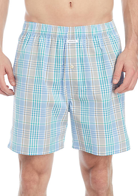 Crown & Ivy™ Blue Plaid Mens Boxer
