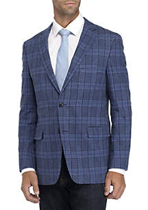 Big & Tall Blue Plaid Stretch Sportcoat