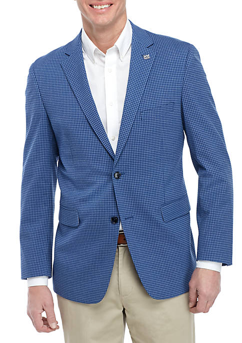 Blue Check Blazer with Stretch