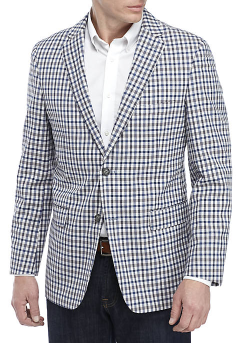 Brown and Blue Check Blazer with Stretch