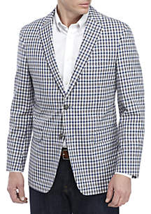 Crown & Ivy™ Brown and Blue Check Blazer with Stretch