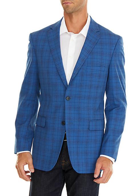 Crown & Ivy™ Blue Plaid Stretch Sport Coat