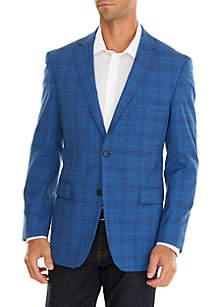Blue Plaid Stretch Sport Coat