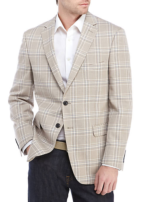 Crown & Ivy™ Tan Blue Plaid Stretch Sport