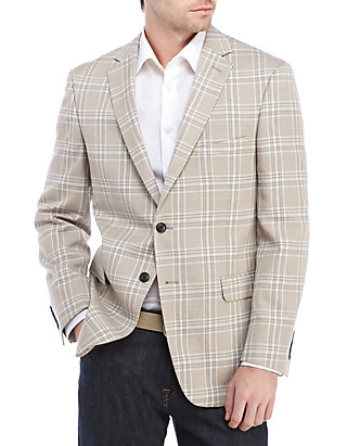aaa70ecb2e37 Crown & Ivy™. Crown & Ivy™ Tan Blue Plaid Stretch Sport Coat