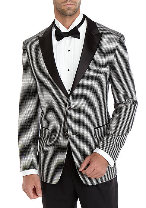 Crown & Ivy™ Black White Houndstooth Dinner Jacket
