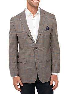 Crown & Ivy™ Big & Tall Brown Blue Deco Plaid Sportcoat